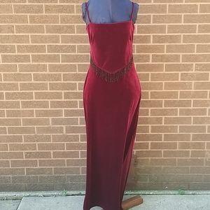 Long burgundy velvet special occasion dress